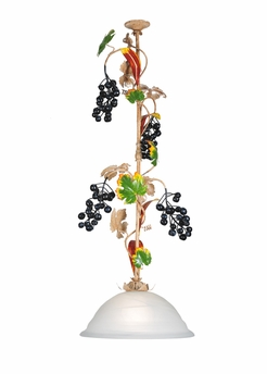 Victorian Floral Art Glass Nouveau Fruit Country 15 Inch Symphony Grape Pendant by Meyda Lighting
