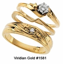 10K Gold Religious Diamond Cross Wedding Rings #1581