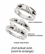 14K White Gold Bride's Duo & Groom's Ring Complete Religious Diamond Cross Set #1023set