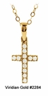 Child's CZ Gold Cross Necklace #2284