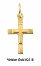 Child's Etched Gold Cross Necklace #2215