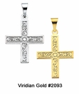 Child's Gold Greek Floral Cross Necklace #2093