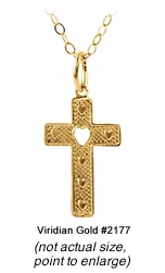 Child's Gold Heart Cross Necklace #2177
