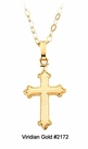 Child's Gold Trefoil Cross Necklace #2172