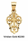 Child's Ornate Gold Cross Necklace #2290