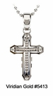 Contemporary Stainless Steel Diamond Cross Pendant #5413<br><b>CLEARANCE: NO RETURNS</b>