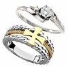 Cross and Diamond Christian Wedding & Engagement Bands and Sets