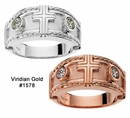 Diamond Cross Tapered Wedding Bands in Rose or White Gold #1578