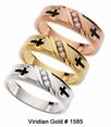 10K Gold Cross and Diamond Religious Wedding Bands #1585