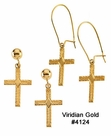 Gold Cross Dangle Earrings with Wheat Design #4124