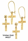 Gold Crucifix Dangle Earrings #4027