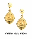 Gold Miraculous Medal Earrings #4064