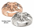 Heart and Cross Diamond Wedding Rings in White or Rose Gold #1575