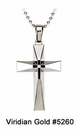 Heavy, Stainless Steel Beveled Diamond Cross Pendant #5260<br><b>CLEARANCE: NO RETURNS</b>