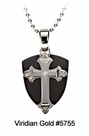 Ion Plated Stainless Steel Cross/Shield Pendant #5755<br><b>CLEARANCE: NO RETURNS</b>