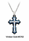 Ion-Plated Stainless Steel Diamond Cross Pendant #5762<br><b>CLEARANCE: NO RETURNS</b>