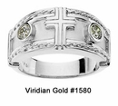 Sterling Silver Diamond Cross Tapered Wedding Bands #1580