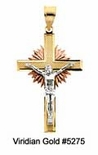 Sunburst Crucifixes in 14K Tri-Color Gold #5275