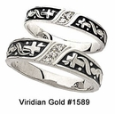Sterling Silver Cross and Diamond Wedding Bands with Dark Accents #1589