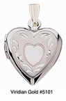 White Gold Heart Locket #5101
