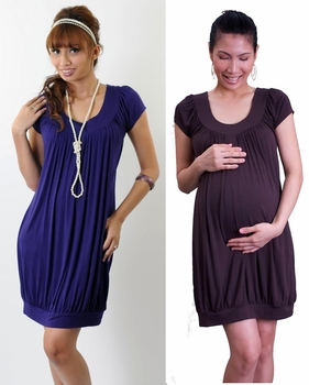 Annee Matthew Maternity/Nursing Banded Tunic/Minidress - Pewter
