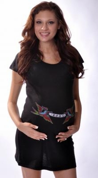 Hot Mama Ink Baby Banner Birds Tattoo Maternity Dress/Tunic