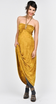 Juliet Dream Golden Maxi Maternity Halter Dress