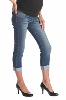 Lilac Tummy Trimmer Boyfriend Designer Maternity Jeans - Medium Wash<br>(XS,S)