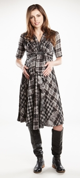 Maternal America Houndstooth Front Tie Maternity Dress - Sold Out