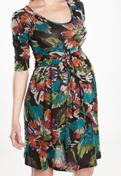 Maternal America Scoop Neck Front Tie Dress - Citrus Floral