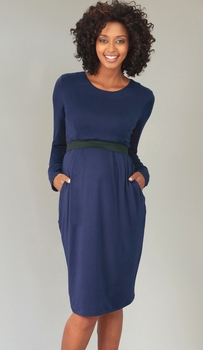 Mayreau Maternity/Nursing Long Sleeve Banded Dress - Navy or Ivy<br>(x-small)