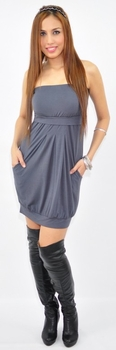 Tabitha Sexy Maternity/Nursing Bamboo Tube Dress - Dark Grey