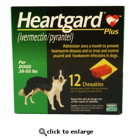 12 MONTH Heartgard Plus Green for Dogs 26-50 lbs
