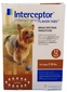 12 MONTH Interceptor Brown for dogs 2-10 lbs