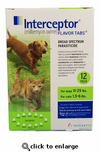 12-MONTH Interceptor Green for dogs 11 - 25 lbs. and cats