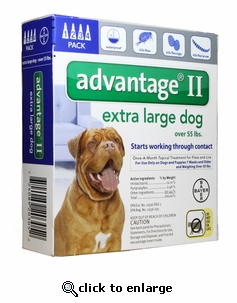 4 MONTH Advantage II Flea Control for Dogs Over 55 lbs