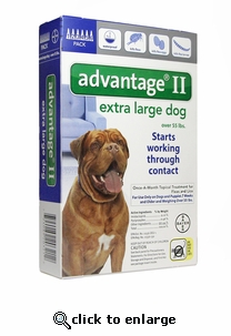 6 MONTH Advantage II Flea Control for Dogs Over 55 lbs