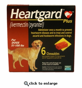 6 MONTH Heartgard Plus Brown for Dogs 51-100 lbs