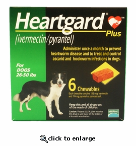 6 MONTH Heartgard Plus Green for Dogs 26-50 lbs