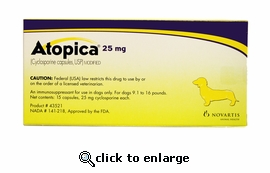 Atopica Yellow 25mg 15 Capsules