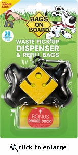Bags on Board Bone Dispenser with 30 Refill Bags BLACK