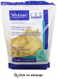 C.E.T. Enzymatic Oral Hygiene Chews for Dogs XL 30 ct