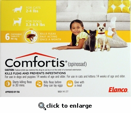 Comfortis for Cats 2 - 4 lbs & Dogs 3.3 - 4.9 lbs 1 pill
