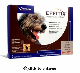Effitix Topical Solution for Dogs 89 - 132 lbs. - 3 month