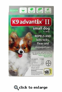 K9 ADVANTIX II Green for dogs up to 10 lbs 12 Pack