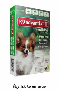 K9 ADVANTIX II Green for dogs up to 10 lbs 6 Pack