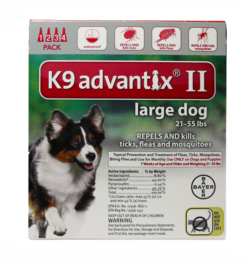K9 ADVANTIX II Red for dogs 21-55 lbs 4 Pack