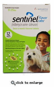 Sentinel Green 12 MONTH for Dogs and Puppies 11-25lbs