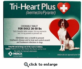 Tri-Heart Plus for Dogs 26 50lbs Single Tablet