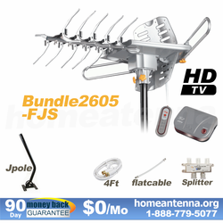HD-2605 Ultra Outdoor TV Antenna + Splitter + Flat Cable + J-Pole Complete Package